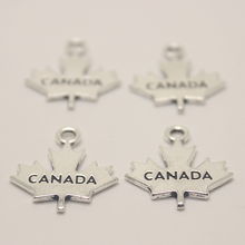 10pcs--20X20mm Antique silver tone Maple Leaves CANADA Charms pendant for necklace jewelry diy(China)