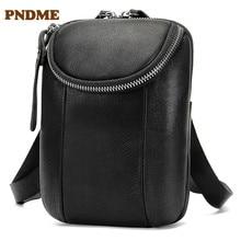 Casual simple black genuine leather men's shoulder bag high quality soft first layer cowhide designer light messenger bags