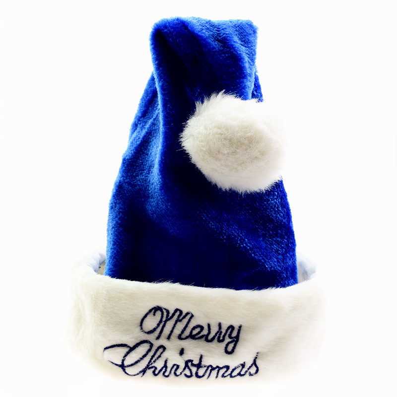 3pcs/lot Embroidered Merry Christmas Hats Thicker Blue Caps For Kids Adult XMAS Decor New Year