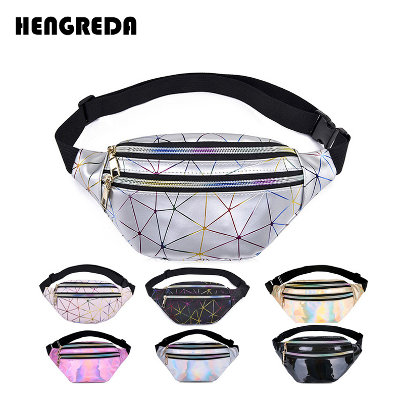 Hengreda Holographic Waist Bags Women Pink Silver Fanny Pack Female Belt Bag Black Geometric Waist Packs Laser Chest Phone Pouch(China)
