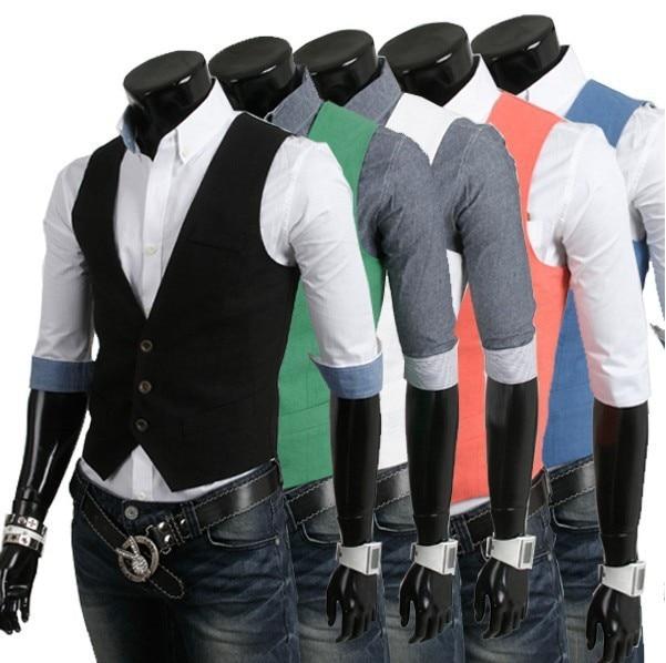 5Colors Solid Vest Men 2016 Spring Slim Brand Men's Fitted Dress Business Suit Vests Men Gilet Fashion Waistcoats Jacket Tops