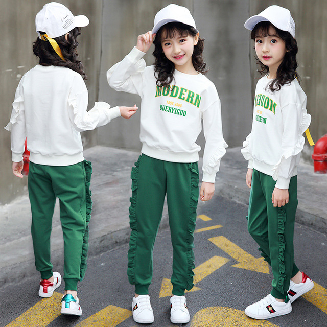 2018 Autumn Girls Clothes 2pcs Set Christmas Outfit Kids Clothes Tracksuit Suit