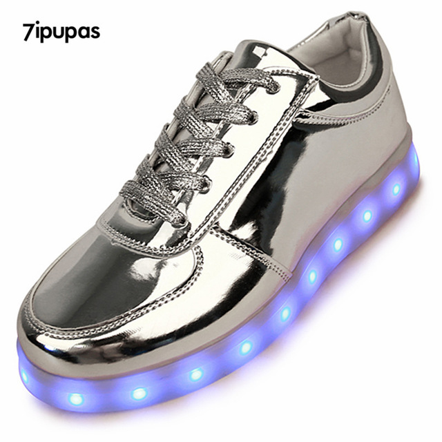 7 ipupas Сияющий Световой СИД Спорта Обувь мужчин с Подсветкой для взрослые Кроссовки светодиодный Мужской USB Зарядка серебряные Светящиеся обувь