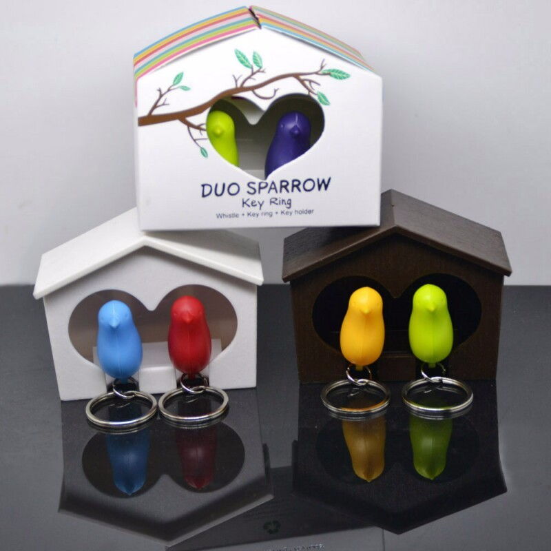 Qualy Duo Whistle Sparrows Bird Key Ring Keychain Holder Wedding Gift