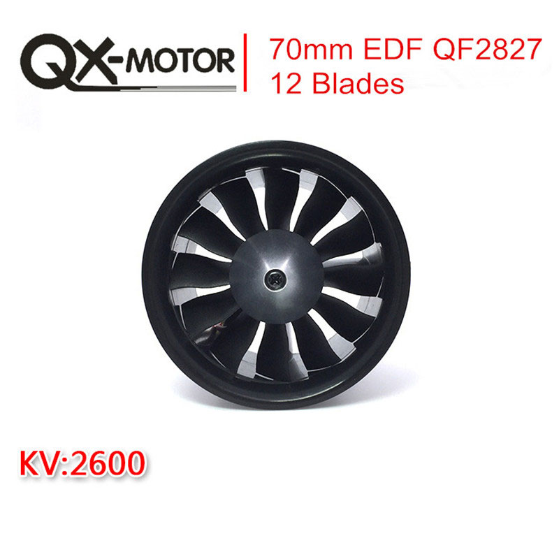 цена на QX-Motor 70mm Electronic Ducted Fan 12 Blades EDF With 2827 KV2600 Brushless Motor Toy For RC Drone Model Parts Wholesale