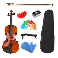 1/8 Размер 1/16 с чехлом лук струны плеча отдыха твердой древесины скрипки для начинающих студентов