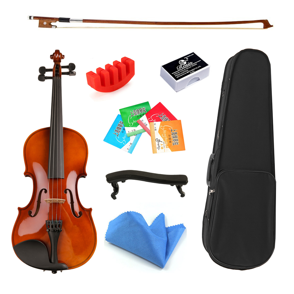 1/8 1/16 size with Case Bow Strings Shoulder Rest Solid Wood Violin For Beginner Students image