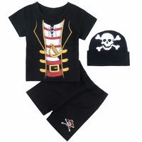 Baby Boy Pirate Costume Romper Set Infant Party Tops Pants With Hat 3PCS