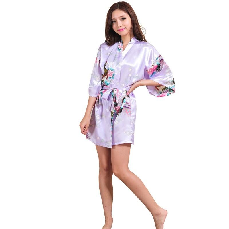 e58aa2f5d3 Details about Silk Satin Wedding Bride Bridesmaid Robe Floral Bathrobe  Short Kimono Robe Night