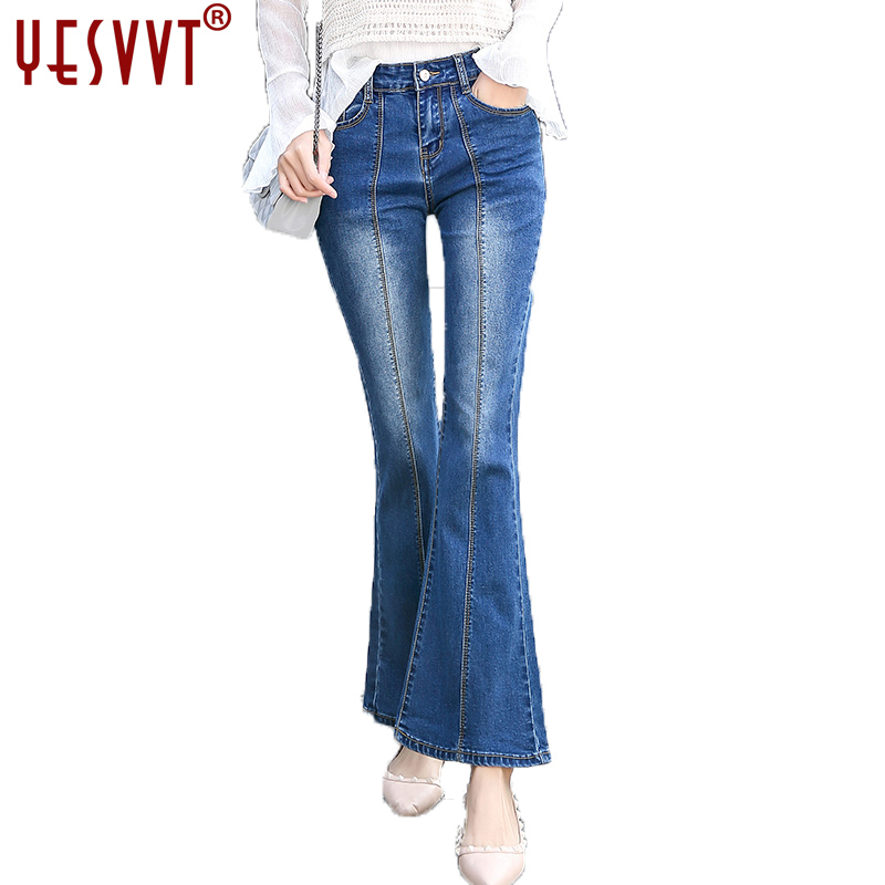 YESVVT 2017 new Flared jeans women flare retro style bell bottom skinny jeans female wide leg women denim pants Tight pants цены онлайн