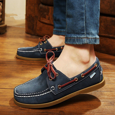 2017 British Style Fashion Men Boat Shoes Spring Autumn Youth Lace Up Casual Comfortable Flat