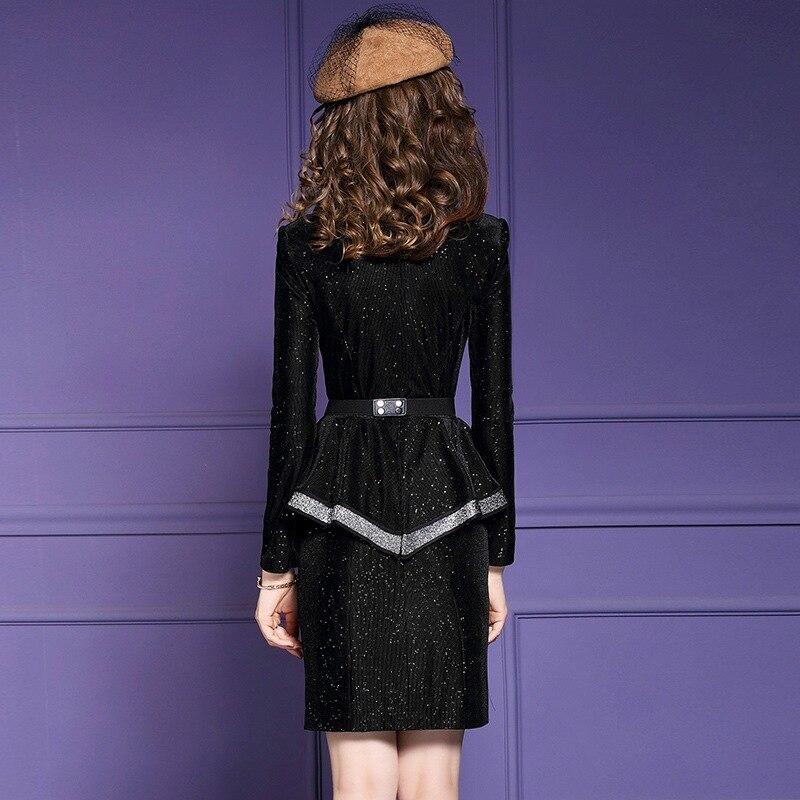 Supérieure Bureau Velours Plus Robes Vintage Robe Nouvelle Noir Dame Ruches 2019 La Femmes Arc Taille Partie Qualité Hiver Solide Crayon wqB5CC