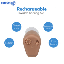 Rechargeable Hearing AID with EU/US Plug Charger Volume Adjustable Mini Invisible Hearing AIDS Amplifier CIC Audiphone Ear Care rechargeable acousticon in ear hearing aid aids audiphone sound amplif eu plug y207e hot sale
