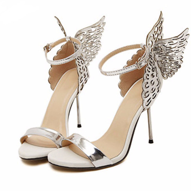 2017 Butterfly Wings Women High Heels Sandals Bowtie Summer Shoes Woman Pointed Toe Ankle Strap