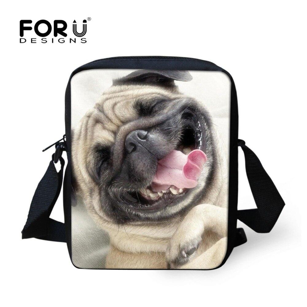 532cc9c197ca FORUDESIGNS Cute 3D Pug Dog Women Messenger Bag Mini Shoulder Bag For Girls  Zoo Animal Cross
