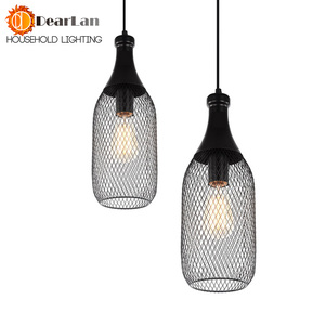 Image 2 - Vintage Iron Bottle Shape Indoor Pendant Lamp E27 Lamp Holder Black Pendant Lighting For Foyer/Coffee House/Dining Hall(DX 50)