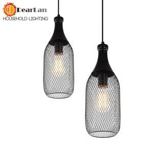 Image 2 - خمر الحديد زجاجة شكل قلادة مصباح e27 حامل مصباح داخلي الأسود قلادة الإضاءة ل بهو/مقهى/الطعام قاعة (DX 50)