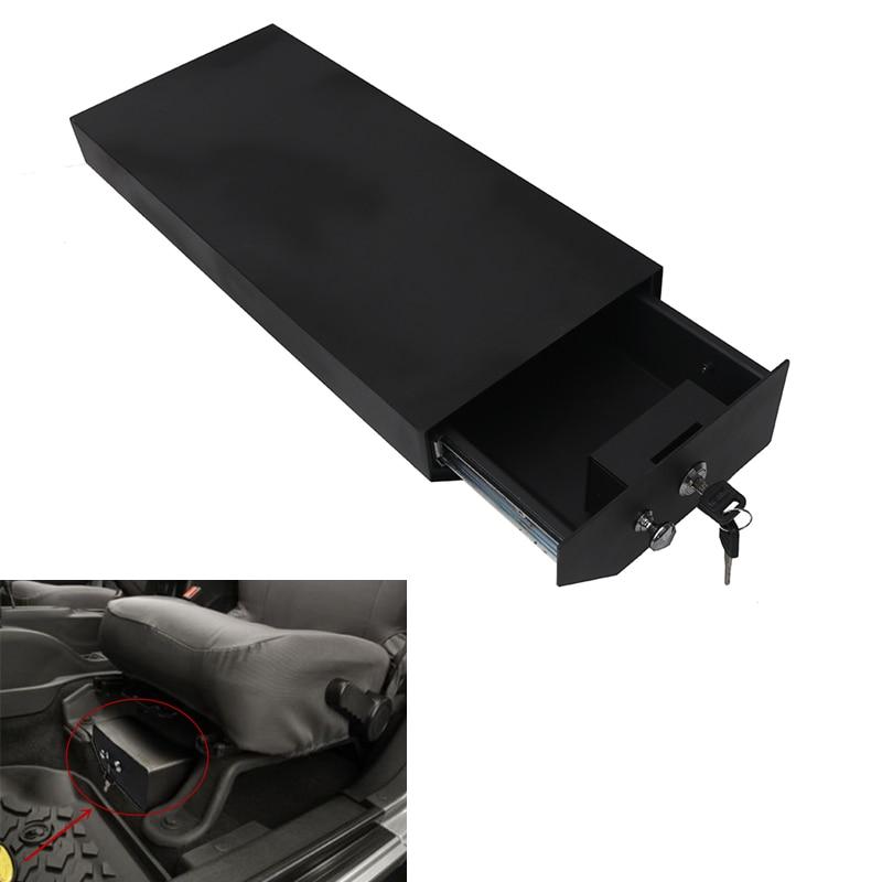 Steel Lock Box Under Driver Seat Storage Box for Jeep Wrangler JK Unlimited JKU in Textured Black #CEK093