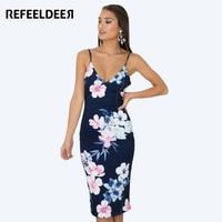 Refeeldeer Strap Deep V Neck Sexy Summer Dress Women 2017 Backless Bodycon Party Dresses Female Summer