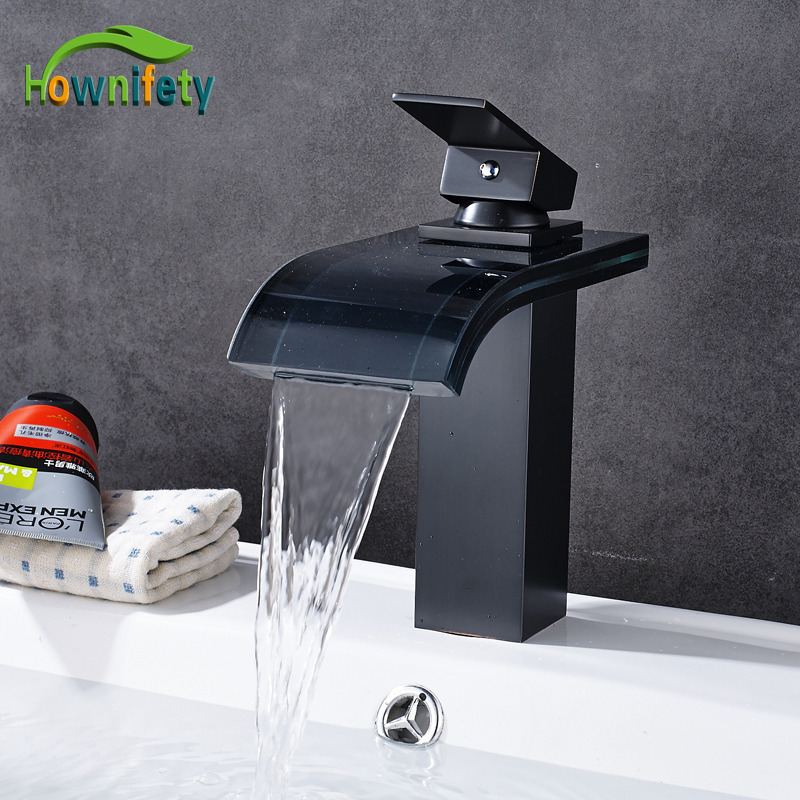 Oil Rubbed Bronze Single Handle Bathroom Sink Faucet Glass Waterfall Spout Mixer Tap Deck Mount