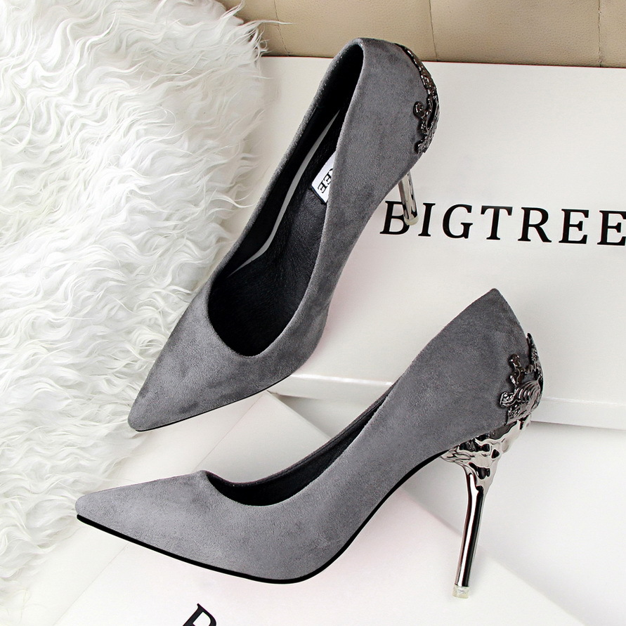 DreamShining New Sexy Mental Heel Women Shoes Suede leather High ...