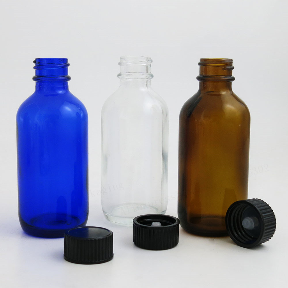 d9e40cf76e7e US $34.19 10% OFF|24 X 60ml 2oz Large Refillable Amber Cobalt Blue Clear  Boston Round Glass Bottles with Black Polyseal (Cone)Lined Closures-in ...