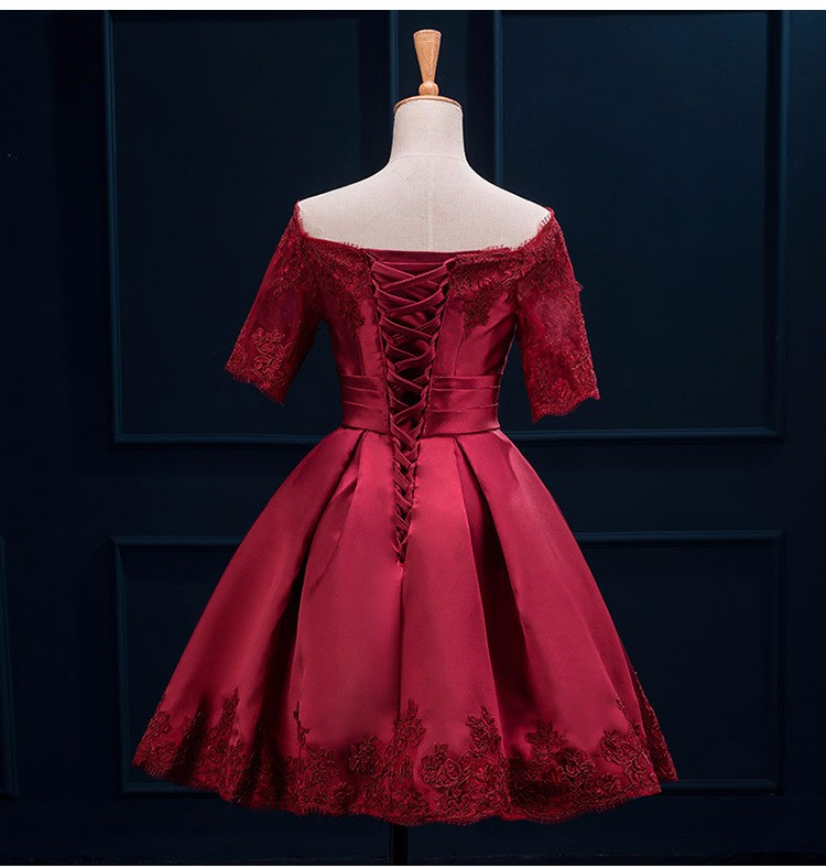 Off Shoulder Wine Red Short Bridesmaid Dress