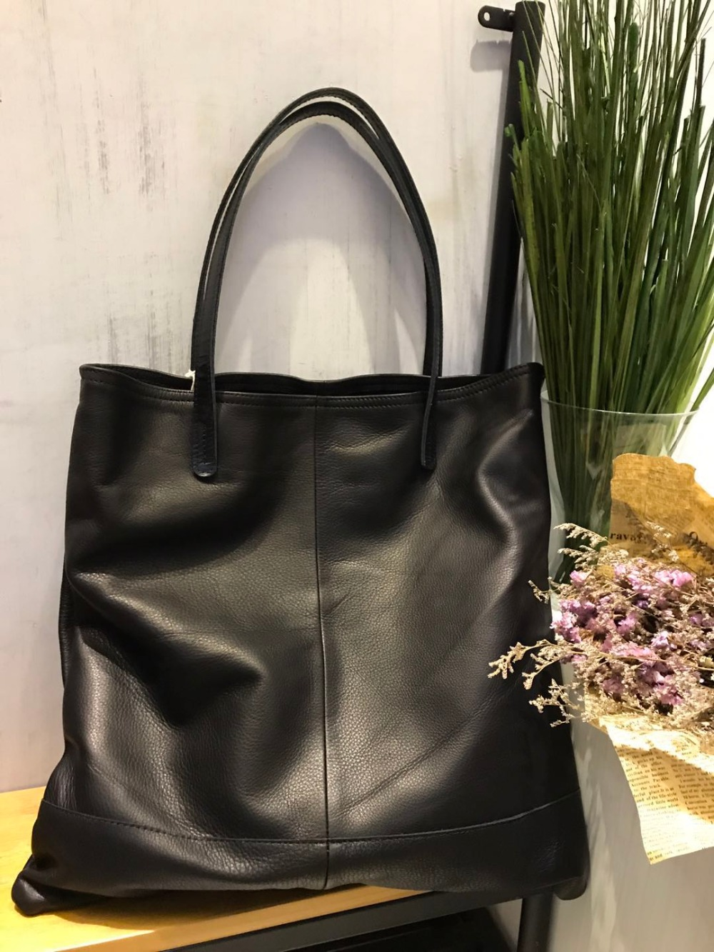 Vendange new fashion women casual vintage handmade big size cowhide genuine leather shopping bag / single shoulder bag2172L vendange new fashion linen