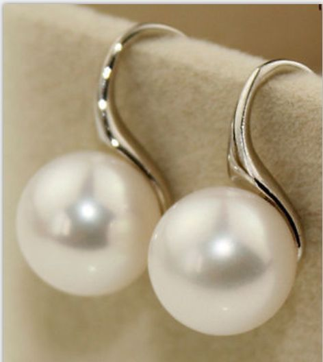 a pair of round 10-11mm AAA natural south seas white pearl earrings silver pair of chic round pendant faux pearl earrings for women