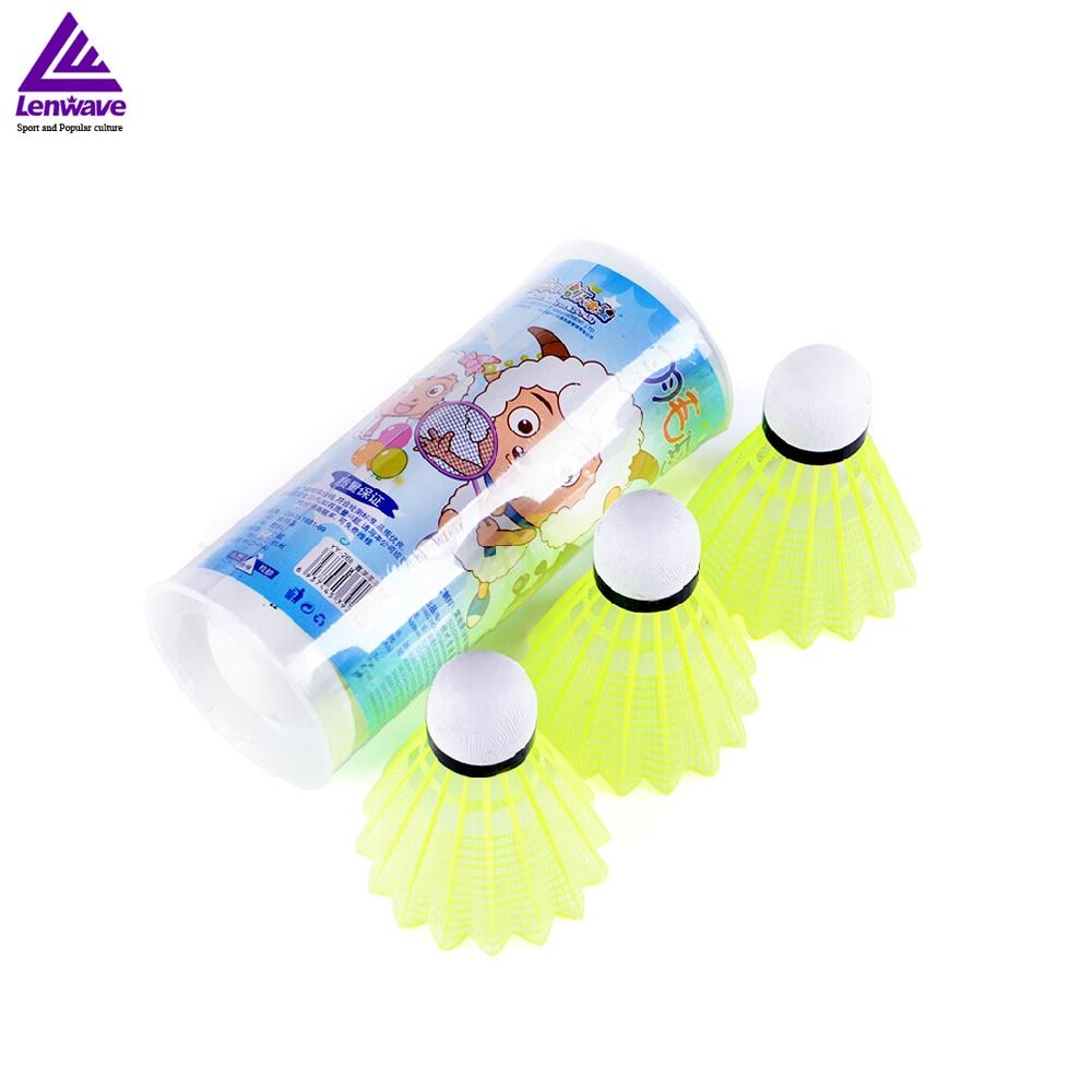 3pcs Yellow Plastic Nylon Shuttlecock Badminton Ball For Kids Sports Training Lenwave Brand Free Shipping