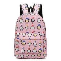 PACGOTH Korean Style High School Students Canvas Backpacks Cartoon Printing Animal Prints Cute Penguin Pattern Schoolbags