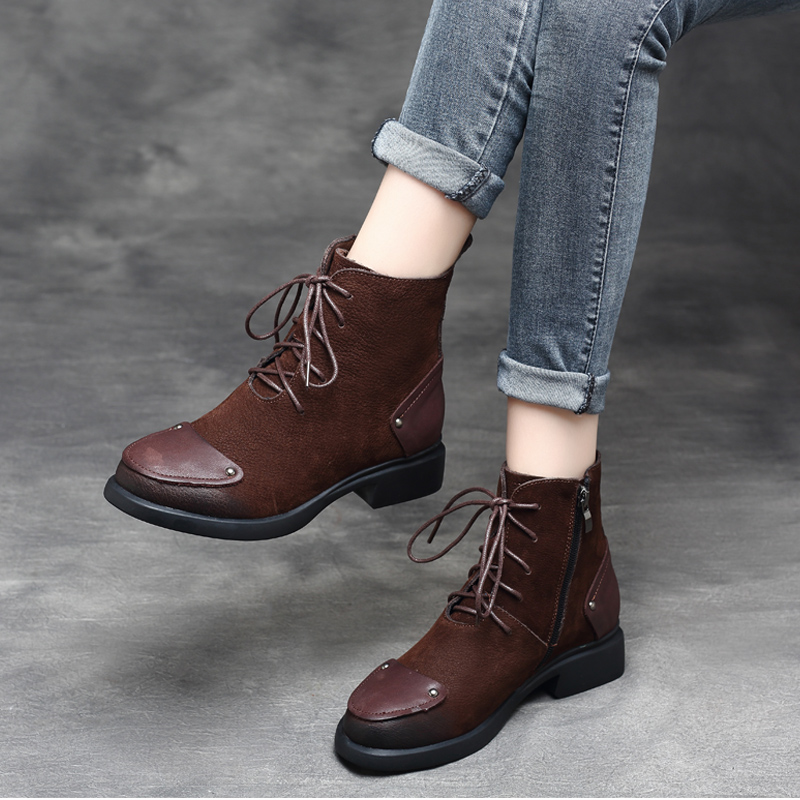 Women Winter Ankle Boots Genuine Leather Lace Up Shoes Women 2018 Handmade Soft Leather Martin Boots Women Brand 3 CM Low Heel цена