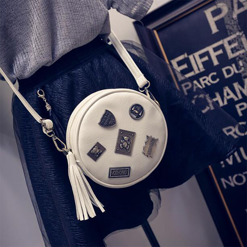 Для женщин сумка круглый Женская круг Сумка Высокое качество PU кожа Сумка для женщин Обувь для девочек bb061