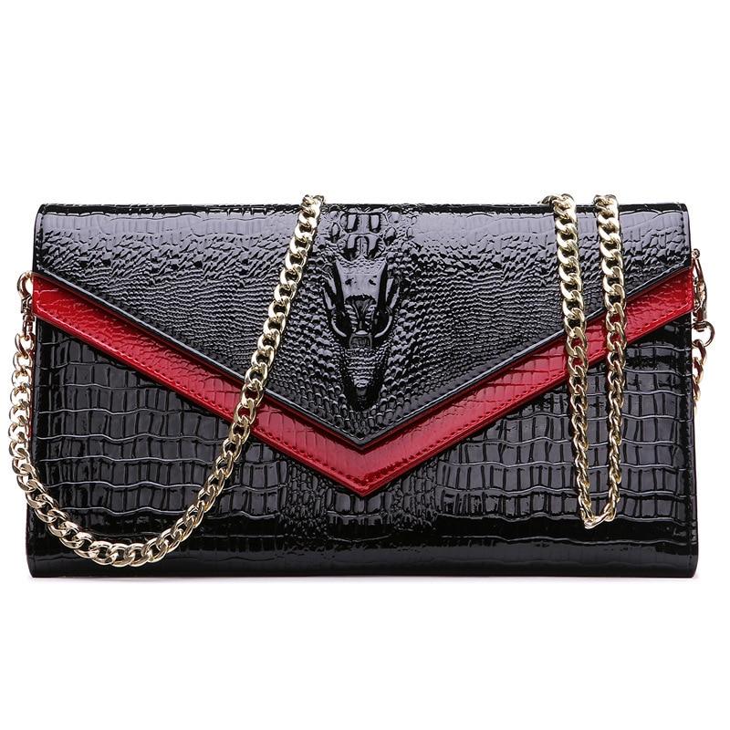 2016 GESUNRY Genuine Leather Women Crocodile Shoulder Bag  Trendy Women Clutch Wallet Purse Lady Messenger Bag