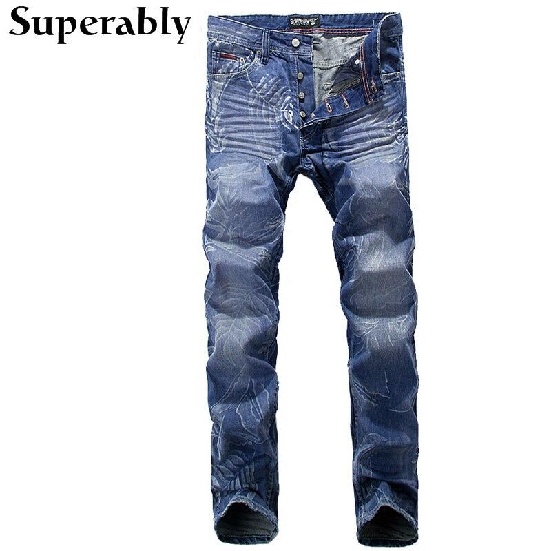ФОТО Blue Color Denim Men Jeans Spring Summer Style Thin Mens Pants Superably Brand Leaves Printing Stripe Jeans Men Full Length