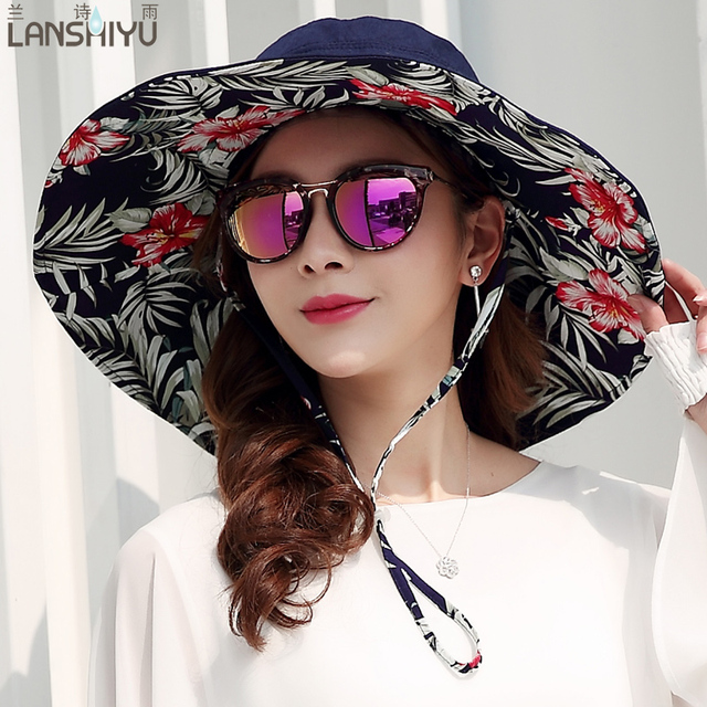 07a1f3f7c72 Summer large brim beach sun hats for women UV protection women caps hat  with big head