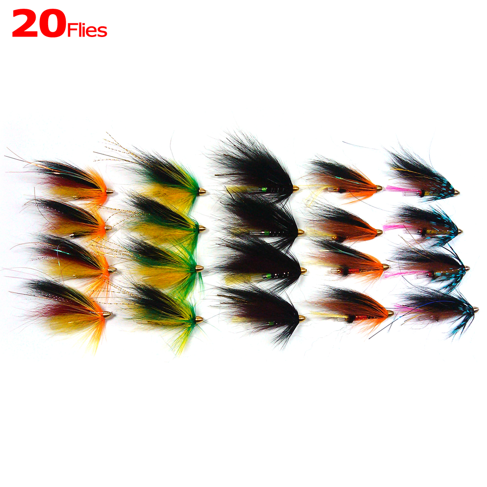 [20PCS] Assorted Color Salmon Steelhead Fishing Tube Fly Combo Sea Bass Teasers Blue Orange Black Green Color