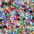 Alta calidad 4 mm 100 unids AAA Bicone cristales austriacos granos flojos de la bola de alimentación AB color de la galjanoplastia, collar fabricación de joyas