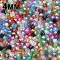 Alta qualidade 4 mm 100 pcs AAA Bicone cristal solta pérolas de bola de alimentação AB cor, Colar pulseira fazer