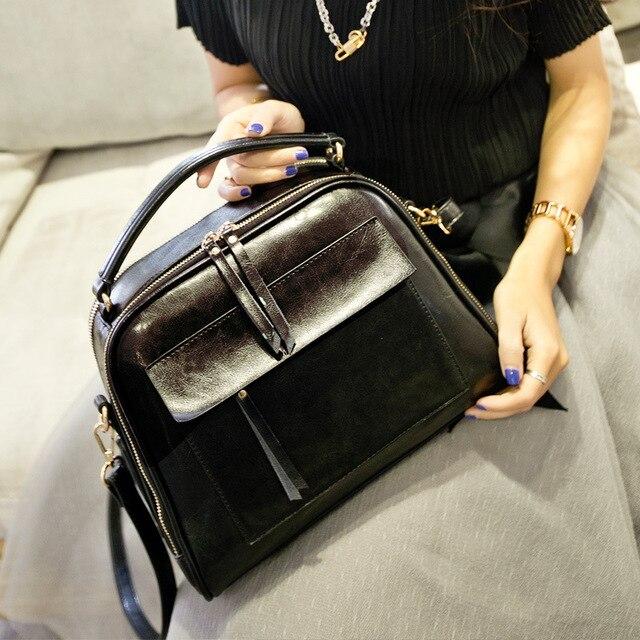 Design 2017 Bags Women Fashion  Totes Genuine Leather Handbags & Crossbody Bags Casual  Bolsas  Female Brown Bag