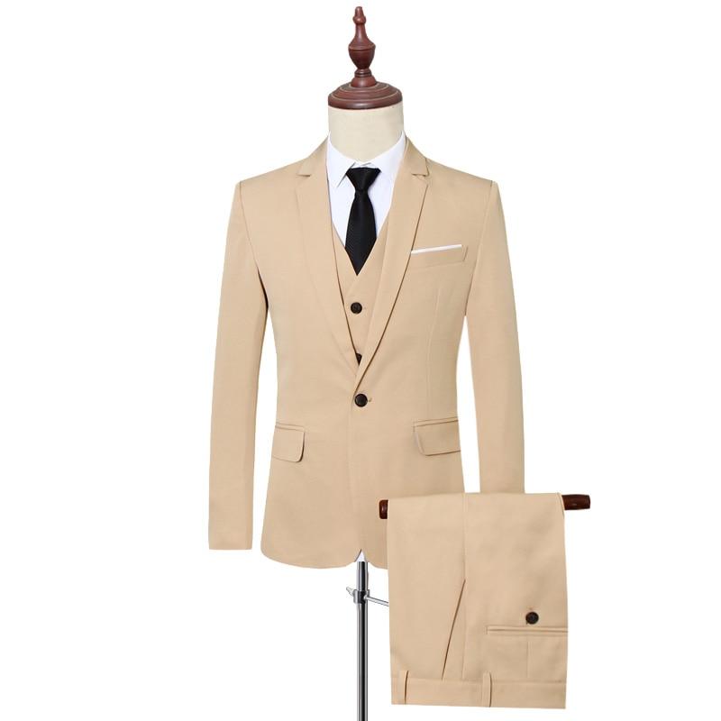 Klassische Formale Kleid Männer Anzug Jacken + Weste + Hosen Mode Freizeit Herren 3 Stück Anzug Größe S 6XL Hochzeit Anzüge für Mann Schwarz - 4