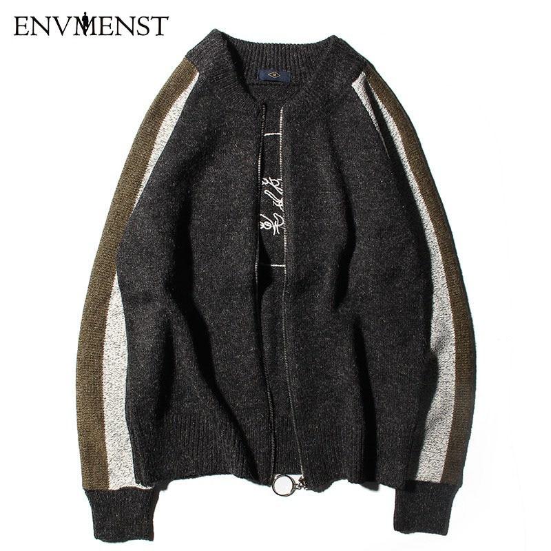 2018 Cardigans pour hommes chandails nouvelle arrive printemps Mandarin col vêtements décontractés pour hommes pull avec fermeture à glissière chaud tricots pull