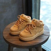 2017 Hiver Enfants Sneakers Garçons Sport Chaussures Enfants En Cuir Véritable Chaussures En Caoutchouc Chaussures Pour Garçons Blanc Noir Chaussures Taille 21-37