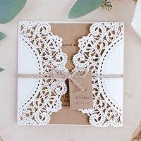 50pcs/set Wedding Invitations Cards Elegant Luxury Laser Cut Greeting Card Printable Envelope Card Kits Party Supplies Decor