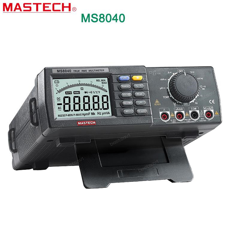 MASTECH MS8040 22000 Counts AC DC Voltage Current Auto range Bench multimeter True RMS Low-pass filtering With RS-232 Interface mastech ms8250c autoranging digital multimeter true rms low pass filtering 6600 d a display ncv usb data transmission