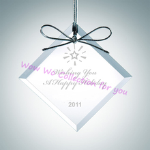 Free shipping 30 pcs 60mm beveled crystal glass square pendants for Christmas decoration