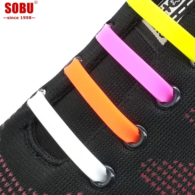 SOBU Brand 12pcs/lot Non-Polluting Shoes Laces No Tie Elastic Silicone Shoelaces For Various People Lacing Shoes Rubber Shoelace