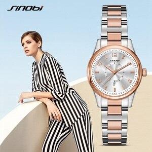 Image 2 - SINOBI 제네바 시계 황금 여성 패션 시계 팔찌 손목 시계 날짜 쿼츠 시계 유명 브랜드 숙녀 Montre Femme