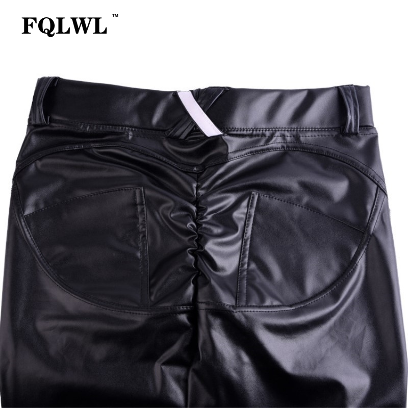 FQLWL Plus Sizes PU Leather Pants Women Elastic Waist Hip Push Up Black Sexy Female Leggings Jegging Casual Skinny Pencil Pants 15