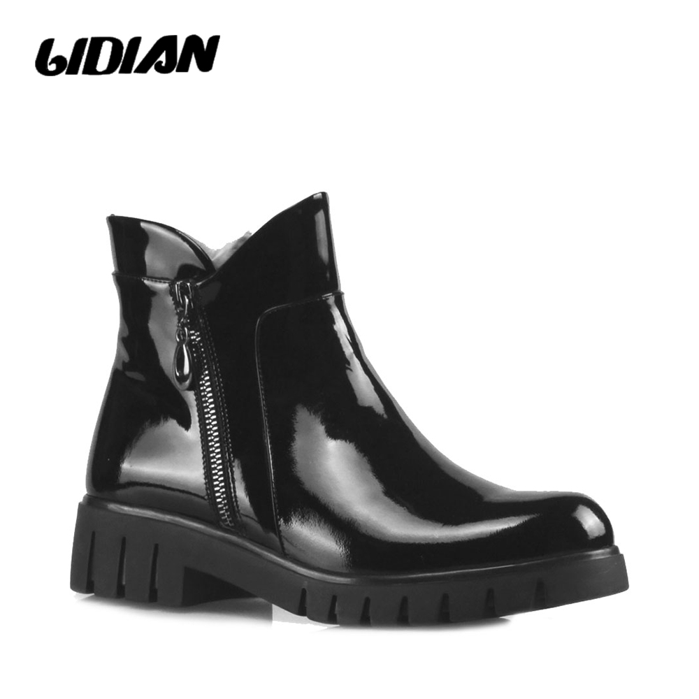 LIDIAN Booties 2018 Ladies Ankle Boots Winter Warm Black Patent Leather Wool Inside Zippered Mirror Women boots with heel B14LIDIAN Booties 2018 Ladies Ankle Boots Winter Warm Black Patent Leather Wool Inside Zippered Mirror Women boots with heel B14